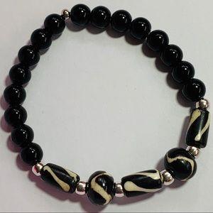Men's Black and White Bone Bead Stretch Bracelet